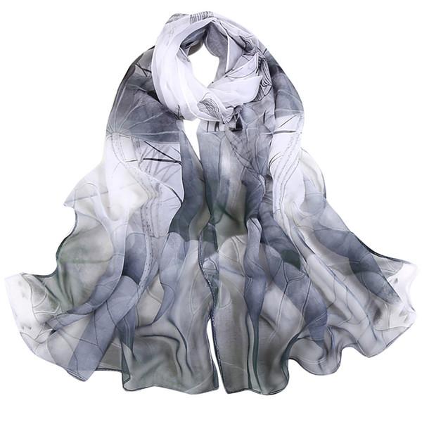 #SW Мода Лотос Печать Женщины шифон шарф Длинный мягкий шелковый платок леди Бич Wrap Хиджаб Дамы пончо шарфы Echarpe Femme