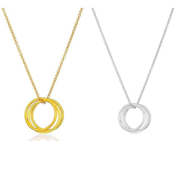 Gold Silver Chain KARMA 3 Circles Pendant Necklace Fashion women Chokers jewelry Party gifts No dogeared Logo on it