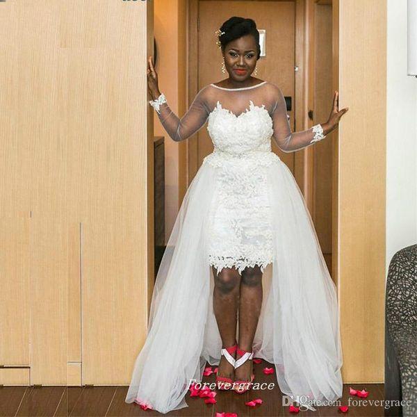 2019 Elegante abito da sposa in tulle di pizzo di colore bianco con gonna staccabile Top di alta qualità pura manica lunga da donna indossare abito da sposa Plus Size