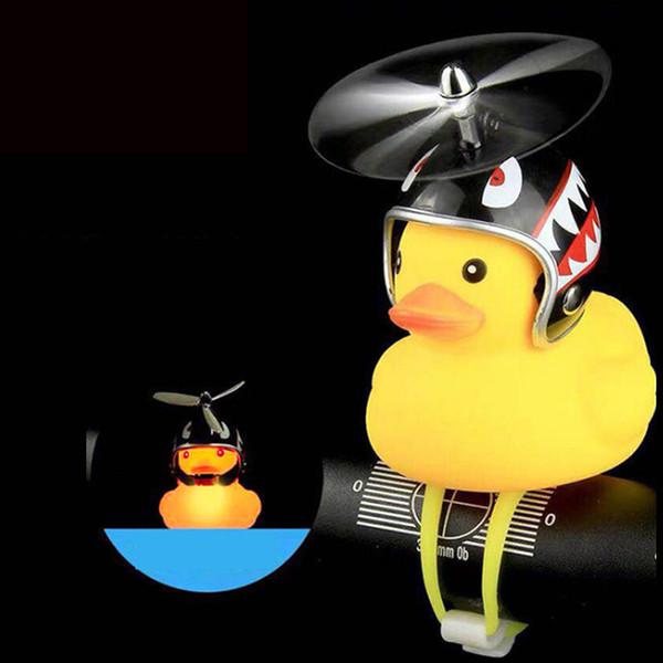 Fahrradklingel Ente Scheinwerfer Vibration Hellgelb Propeller Kleine Gelbe Ente Helm Bambus Libellenform Kinderspielzeug
