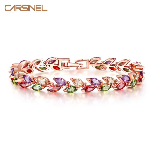 CARSINEL Colorful Cubic Zircon Bracelet for Women Rose Gold-color Snake Chain Jewelry Bracelets Luxury Engagement Jewelry BR0004