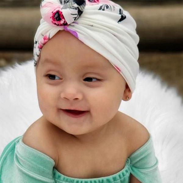 New Kids Filles Bonnet Coton Chapeau imprimé floral large nouée Turban Chapeau Accessoires cheveux d'hiver Caps chaud pendant 1 à 6 ans
