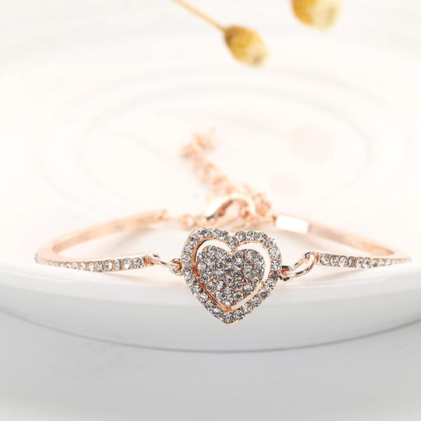Doppel Herz Bettelarmband Armreif für Frauen Pulsera Schmuck Kette Brautjungfer Geschenke Frauen Luxus Schmuck Liebe Armband
