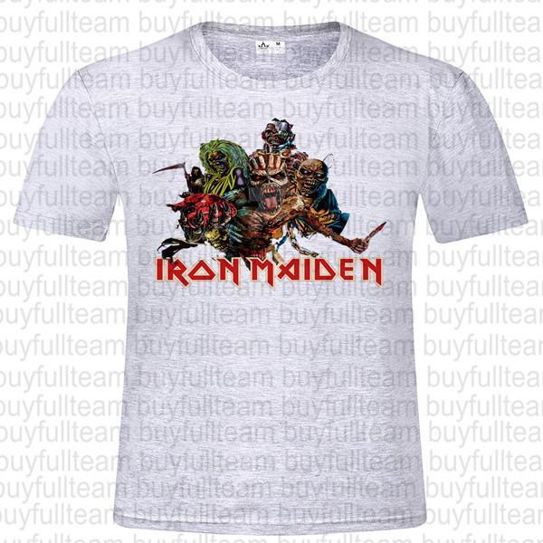 Iron Maiden Mens Gray Short Sleeves Tops Fashion Round Neck T Shirts Size S M L XL 2XL 3XL
