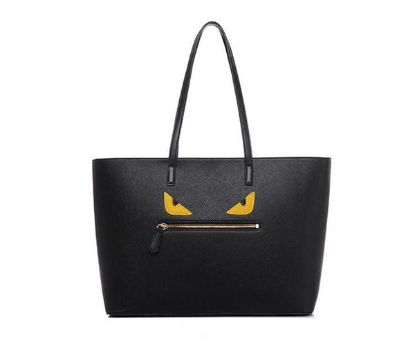 Fashion Tote Bag Monster Eyes Venta caliente Bolsos de diseño de lujo PU Cuero Mujer Bolsos de hombro Negro Ventas directas de fábrica