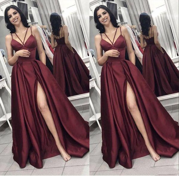 26229a01cb 2019 Simple Arabic Dubai Sexy Burgundy A Line Prom Dresses Front Split  Evening Gown Spaghetti Straps
