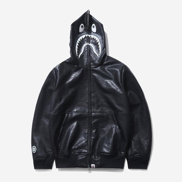 Erkek Deri Ceket tasarımcı hoodies2019 Süper Köpekbalığı Kafası Bile Kap Hırka Giyim Erkek Gevşek Ceket Uzun Kollu