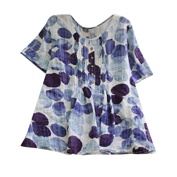 La nueva llegada mujeres ocasionales más la camiseta floja de lino de la manga del botón de impresión Tanic blusa de la camisa ropa de las mujeres 2019 Envío de la gota