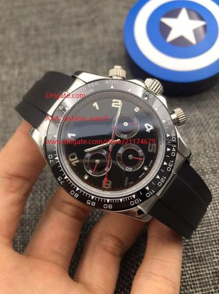 8 Cores de Luxo Relógio de Alta Topselling 40mm Cosmograph 116506 116509 116500 116520 Bandas De Borracha Sem Cronógrafo Trabalhando Mens Relógios Automáticos