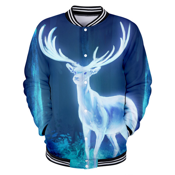 Deer Christmas Baseball uniform Image cartoon 3D pattern cool popular loose comfortable sweatshirt lovers shirt