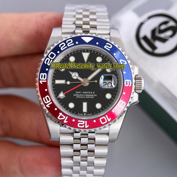 KS Best version 126710BLRO-0001 GMT Red & Blue Ceramic Bezel ETA 2836-2 Automatic Movement 28800bph Mens Watch Sapphire Glass Sport Watches