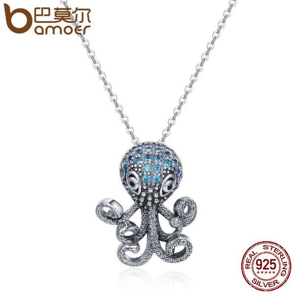 Bamoer 100% 925 Sterling Silver Fancy Octopus Marine Animal Clear Cz Pendant Necklace Vintage Punk Style Silver Jewelry Scn166 J190517