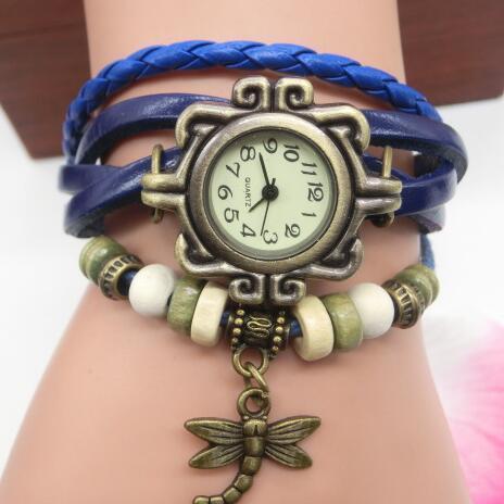 Fashion Vintage Braided Watch Creative Watch Wrap Lady dragonfly Pendant Bracelet Vintage Ladies Bracelet Quartz Watch Clock