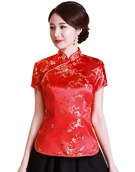 Red with Floral Embroidery