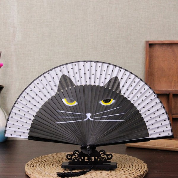 Folding Hand Fan With Tassel Creative Bamboo Silk Fan Cartoon Cat Painting Japanese Hand Held Fans Wedding Party Guests Gift DH0965