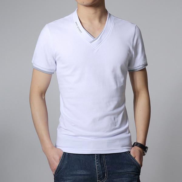Hot Sale T Shirt Men Short Sleeves V-neck T-shirt Mens New Fashion T Shirts Casual Printing Slim T-shirt Cotton Tops Tees