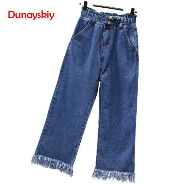 Dunayskiy Plus La Taille S-5XL Taille Haute Élastique Jeans Denim Jeans Casual Boyfriend 2019 Nouveau Printemps Pompon Large Jambe Pantalon Pantalon Pantalon