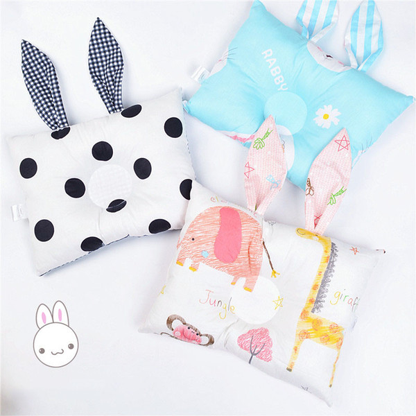 top popular Infant Rabbit ears print Memory Pillow INS Newborn cartoon bunny ears Support Cushion Pad Baby Stereotypes Pillow 25 colors C5923 2021
