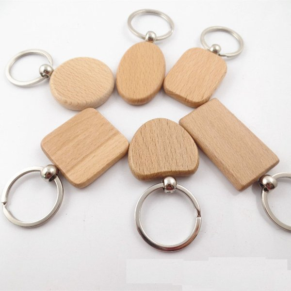 20pcs Blank Round Rectangle Wooden Key Chain Diy Promotion Customized Wood Keychains Key Tags Promotional Gifts MX190816