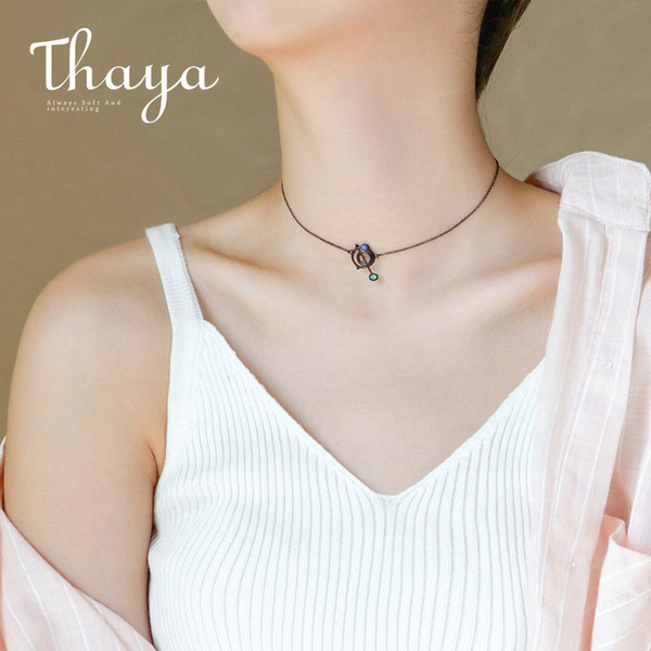 Thaya Original Design Astrograph S925 Silver Opal Pendant Necklace Black Clavicle Chain Necklace For Women Gift Simple Jewelry J190611