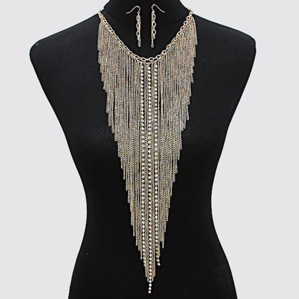 Punk Jewelry Multi-layer Tassel Gold-plated Necklace Sexy Crystal Body Chain Necklace Party Clothing Ornaments Large Necklace