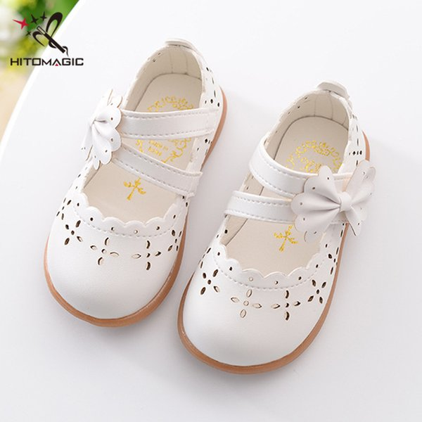Hitomagic Baby Girl Shoes Toddler Girl Shoes For Children's Footwear Princess Hollow Bowtie Pink Breathable Hooks Child Shoe Y19051303
