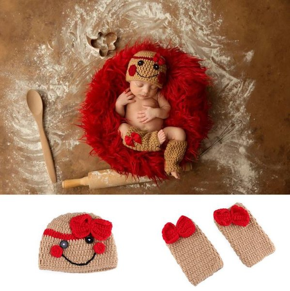 Newborn Baby Girls Crochet Knit Clothes Photo Photography Prop Costume Hat Cute 2pcs/set baby photo props 0-3M