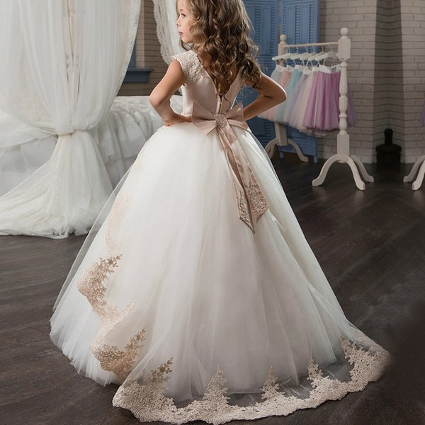 2019 Burgundy Girls Pageant Dresses for Little Girls Blue Gowns Toddler Turquoise Lace Kids Ball Gown communion Flower Girl Dress Weddings