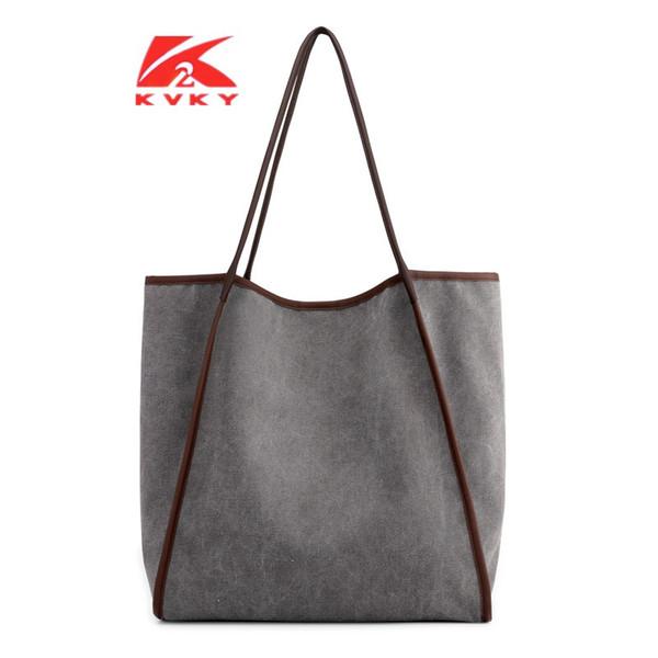 Big Casual Canvas Bag 2019 Tecido Eco-friendly Top-handle Bag Lona Aberto Coreano Moda Bolsa Feminina Sobre o Tote Tamanho