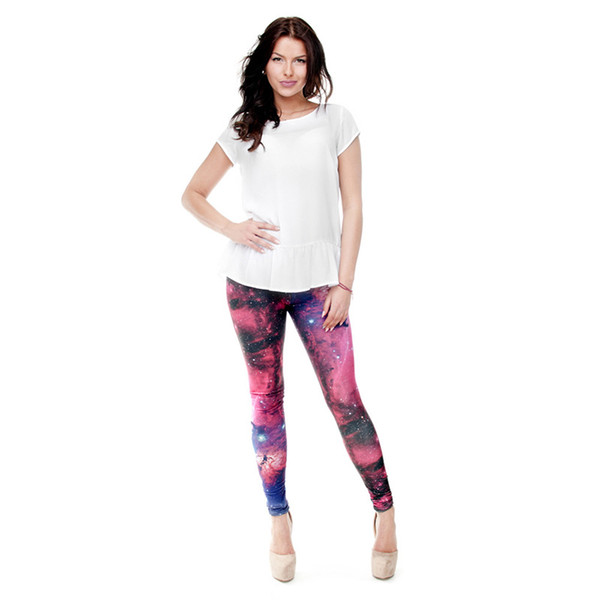 Girls Leggings Multi-Color Galaxy 3D Digital Full Printed Skinny Sportwear Trousers Woman Fitness Pencil Pants Lady Soft Jeggings (Y31174)