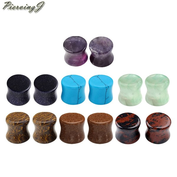 wholesale Body Piercing 14pcs Natural Chakra Saddle Ear Plugs Expander Earring Body Piercing Gift Set