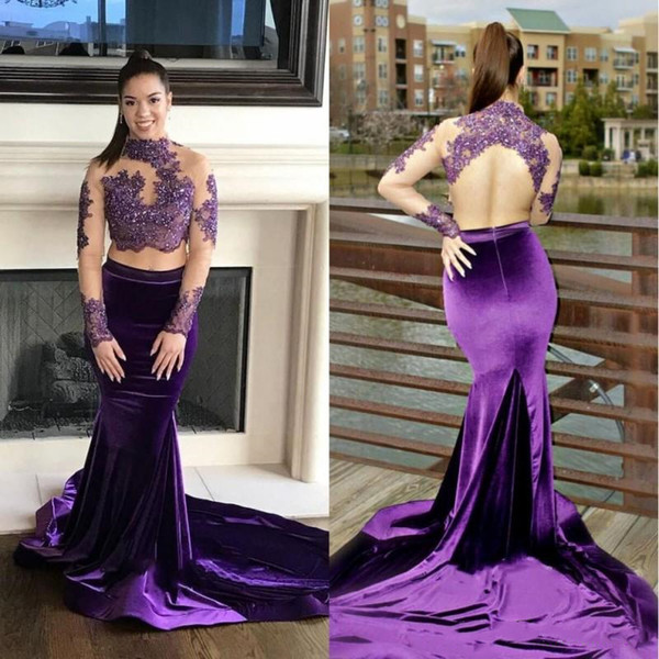 Sexy Two Piece Mermaid Prom Dresses Long Tail New 2019 Open Back High Neck Sheer Sleeve Lace Sequins Beads Purple Velvet Evening Gowns