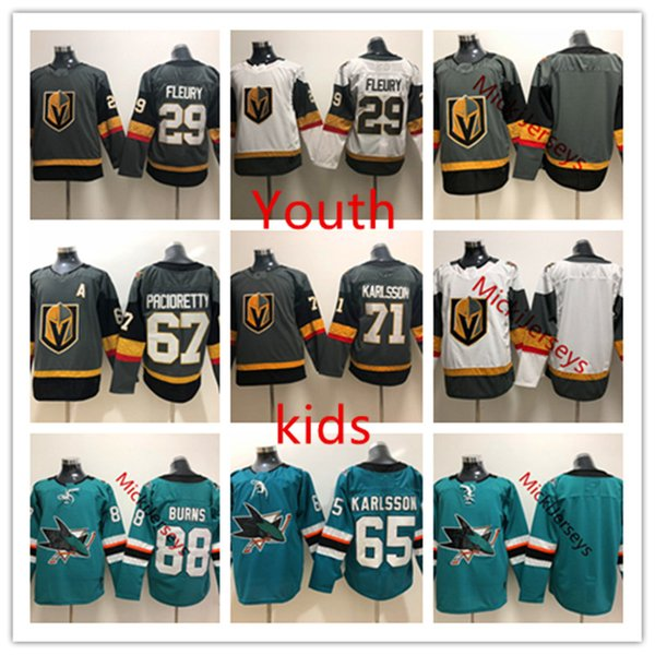 separation shoes d0cfc 4e1e0 2019 Youth Brent Burns Erik Karlsson San Jose Sharks Jersey Kids William  Karlsson Marc Andre Fleury Max Pacioretty Vegas Golden Knights Jersey From  ...