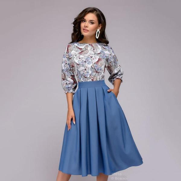 Compre 2018 Otoño Moda Mujeres Floral Impreso Vintage Party Vestidos Largos Casual Elegante Vestido Bohemio Vestidos A 3056 Del Bidalina
