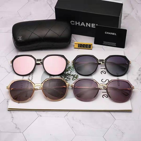 Neue hochwertige mode retro designer männliche dame ray yang marke sonnenbrille goldene rahmen braun 50mm glaslinse uv400 schutz schwarz fall.