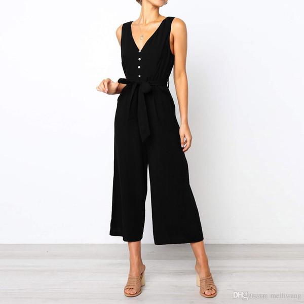 Женская мода сплошной цвет без рукавов кнопки длинные комбинезоны дамы случайные свободные зашнуровать летние комбинезоны плюс размер