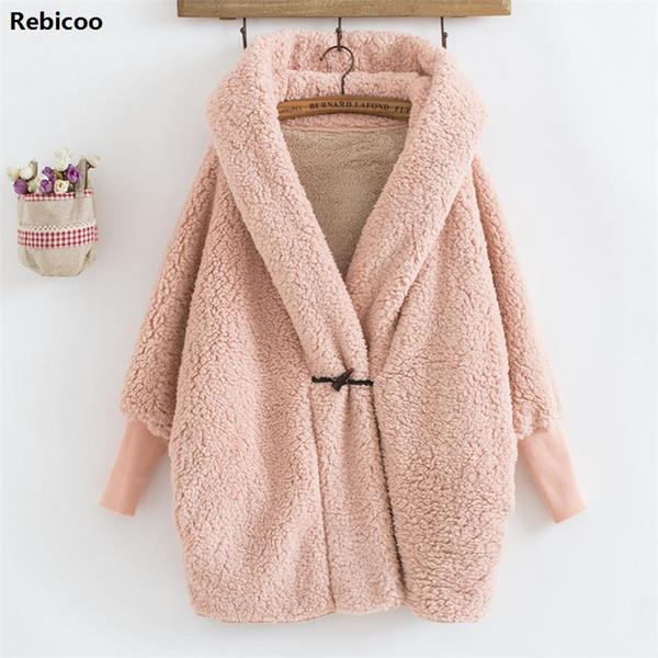Women Hooded Outwear Winter Fashion Design Women's Batwing Long Sleeve Loose Streetwear Lamb Wool Hooded Coat Jackets