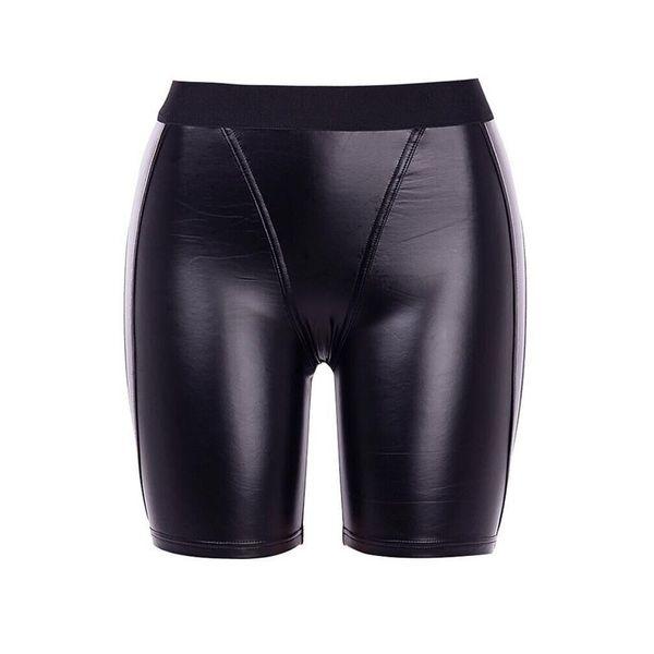 Women Shorts Casual PU Sexy Club Punk Hip Hop Summer Skinny Thin Solid Black Gothic Office Lady Female Fashion Goth Shorts