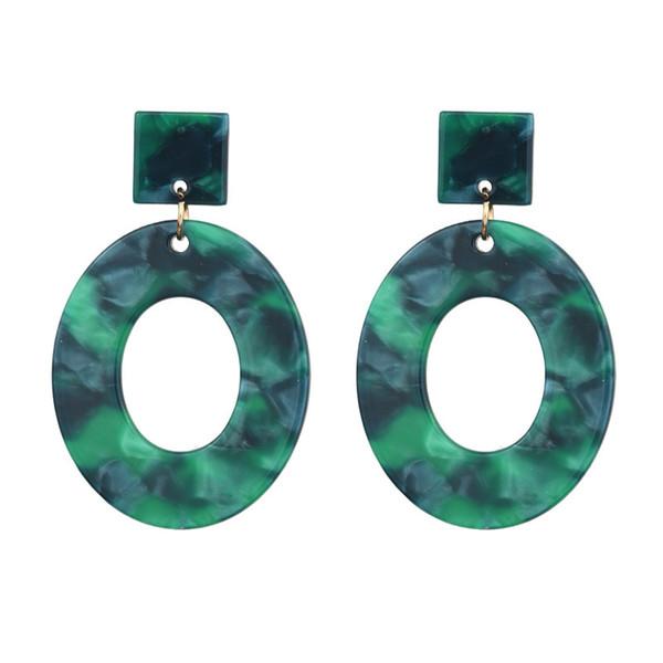 Esmeralda cor charme barato forma oval mulheres brincos de acrílico gota do parafuso prisioneiro