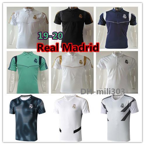 best selling 2019 2020 Real Madrid Soccer Jersey short sleeve training shirt 19 20 HAZARD MODRIC MARCELO ASENSIO football polo shirts thailand quality