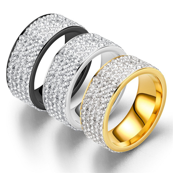 for men and women ring three rows and five rows of diamond rings are made with 24k vacuum plating lasting color preserving wedding ringsgift