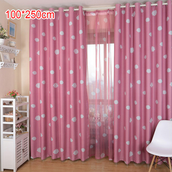 Window Cloud Printed Curtain Coated Blockout Eyelet Blue Pink Curtains Girls Children Curtain for Living Room Bedroom