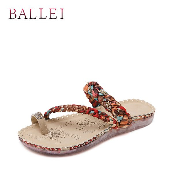BALLEI Handmade Woman Summer Slipper Vintage PU Comfortable Low Heel Quality Shoe National Style Casual Classic Lady Slipper T2