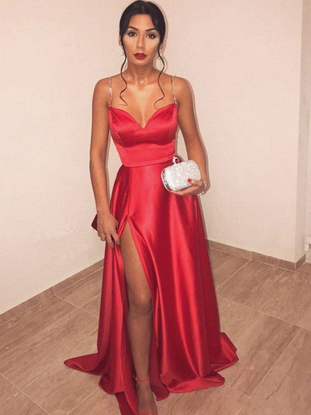 Compre Vestidos Formales Sencillo Una Línea De Vestidos De Fiesta Largos Con Lado Dividida Cariño Correas Espaguetis Satén Vestido De Noche Rojo
