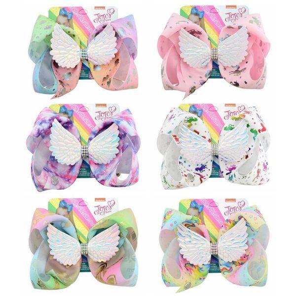 JOJO Unicorn Firkete Melek Kanatları Firkete Bebek Kız Saç Yaylar Çiçek Baskılı Tokalarım Çocuk Gökkuşağı Toka Saç Aksesuarları A52105