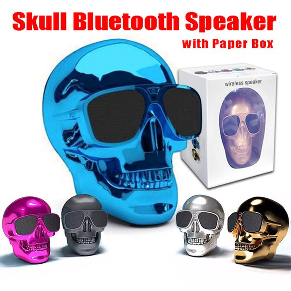 New Style Skull Head Shape Portable Wireless Bluetooth Speaker Super Heavy Bass Speakers Rechargeable Battery Music Player