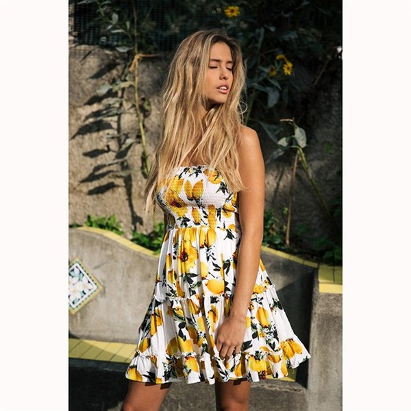 Designer Women Dress Luxury New 2019 Summer Ruffle Flower Dress Luxury Sexy Wrapped Chest Mosaic Lemon Print Ruffled Dress