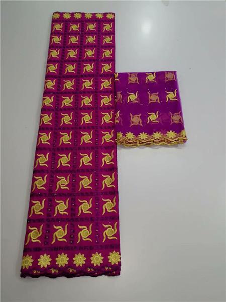 5 + 2 matériaux de robe gracieux ensemble tissu de dentelle de coton africain et tissu de dentelle écharpe de voile suisse 2Y pour la couture YCV41