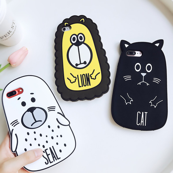 Cute 3D Cartoon Animals Case For iPhone 6 7 8 Soft Rubber Silicone Kawaii Shockproof Protective Cover For iPhone XS Max XR Free Shipping