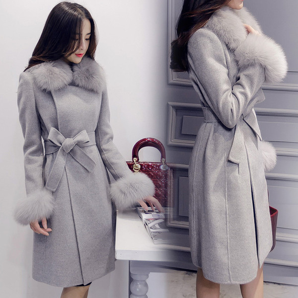 fashion fake fur collar wool coat doudoune femme long sleeve covered button bow lace-up cape coat sobretudo pink alpaca peacoat